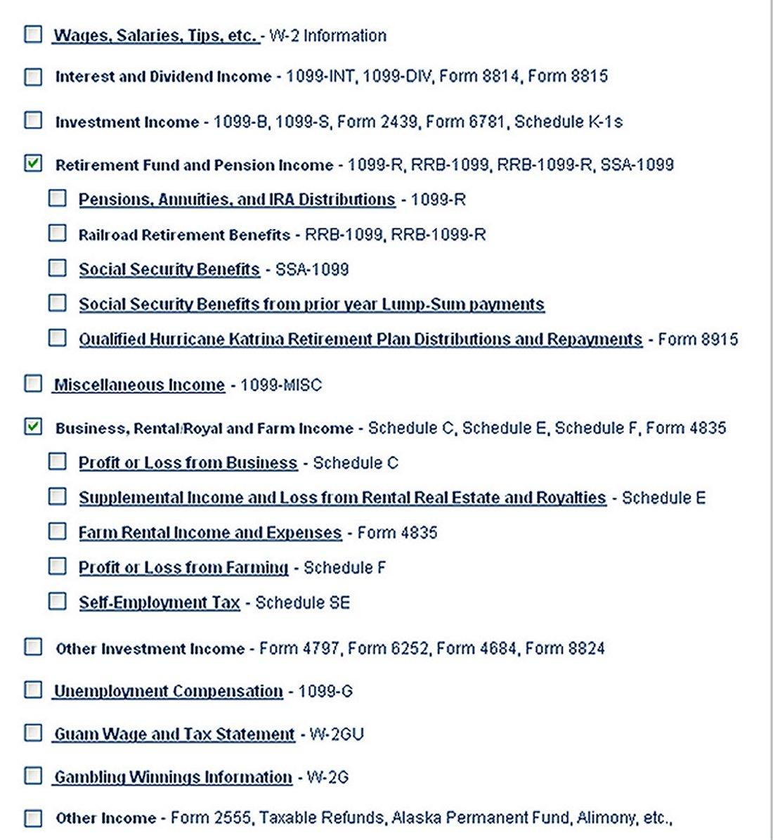 screenshot of income checklist dropdown
